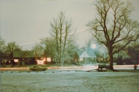 My house in Winter, behind tall center tree.  Light trail of plane approaching Detroit Metro Airport.  97kb